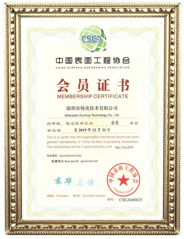中国表面工程协会会员证书